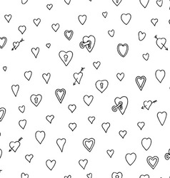 Black Love Heart Padlock Pattern Doodle Background vector image