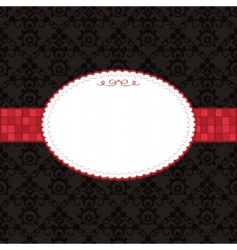 black pattern and red frame vector image