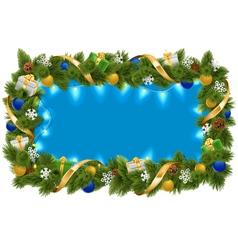 Blue Fir Frame with Garland vector image