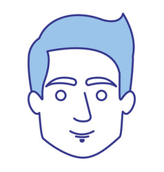 Blue silhouette of man with short hairstyle vector