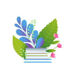 books and foliage leaves education flat vector image