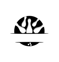 bowling emblem logo design template vector image