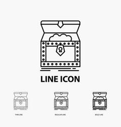 Box chest gold reward treasure icon in thin vector