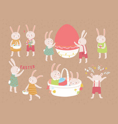 bundle adorable easter rabbits or bunnies vector image