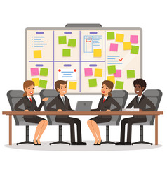 business team working and make some planning on vector image