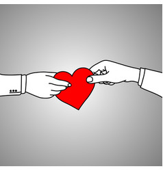 businessman holding red heart vector image