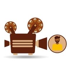 camera movie vintage character icon design vector image
