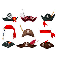 Carnival sea pirate hat and bandana isolated set vector