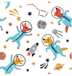 childish seamless pattern with cute dogs in space vector image