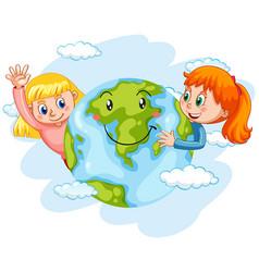 Children with happy earth vector