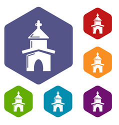 church icons hexahedron vector image