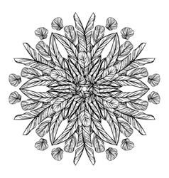 Circle pattern with feathers round kaleidoscope vector