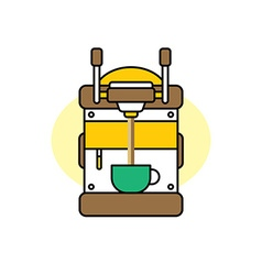 Coffee machine cartoon theme vector