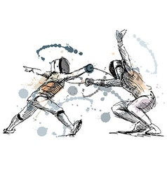 Colored hand sketch fencers vector image