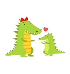 Crocodile Mom With Red Bow Animal Parent And Its vector image