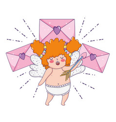 Cute cupid chubby girl with envelope vector