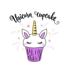 Cute unicorn cupcake with horn ears and eyes on a vector