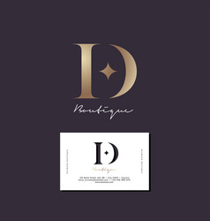 d letter diamond monogram business card vector image