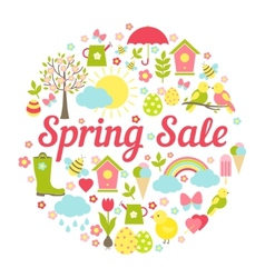 Decorative circular Spring Sale Sign vector