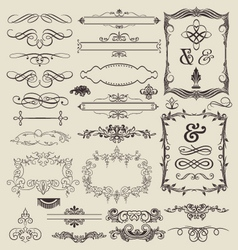 decorative lines and border elements set vector image