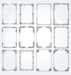 decorative rectangle frames and borders set 4 vector image