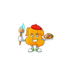 Delicious fried chicken with mascot a painter vector