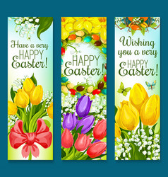easter eggs and flowers greeting banner set design vector image