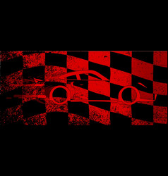 Fast car chequered flag vector
