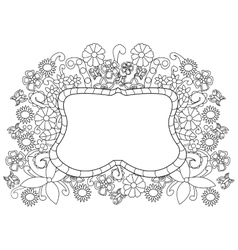 Flower pattern coloring for adults vector