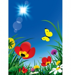 Flowers and sun vector