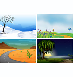 four nature scenes day and night vector image