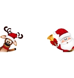 Funny Santa and Reindeer vector image