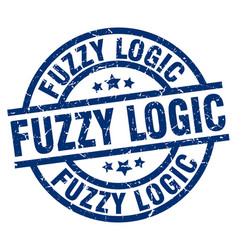 Fuzzy logic blue round grunge stamp vector