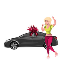 girl enjoys the gift new car vector image