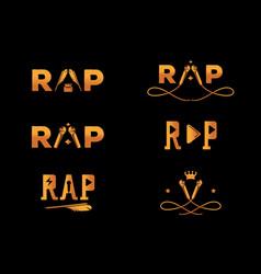 Golden element rap word design vector