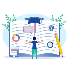 Graphic cartoon character academic process vector