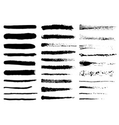 Grunge black rough brush strokes set set of black vector