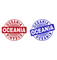 grunge oceania scratched round stamp seals vector image