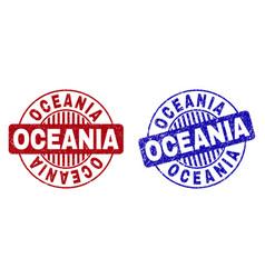 Grunge oceania scratched round stamp seals vector