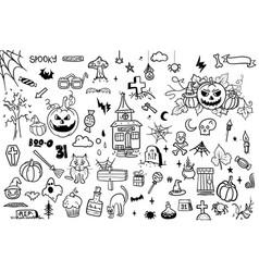 halloween doodle set on white background creative vector image