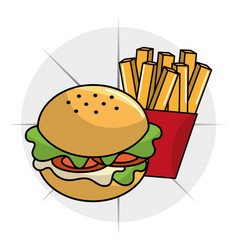 Hamburger with fries french icon vector