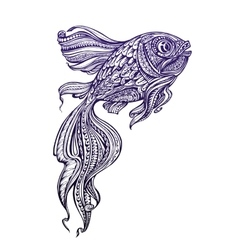 Hand drawn fish with ethnic elements vector