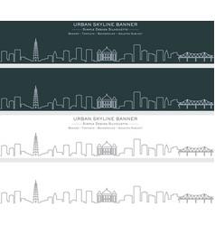 Hanoi single line skyline banner vector