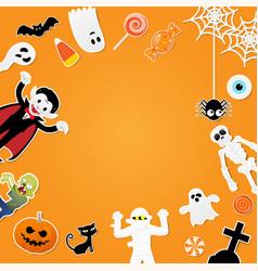 happy halloween characters in cartoon style vector image