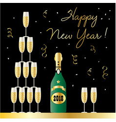 Happy new year stacked champagne glasses vector