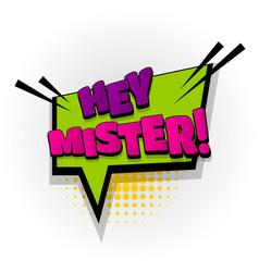 Hey hi mister comic book text pop art vector