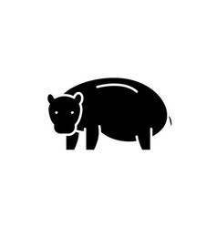 hippopotamus black icon sign on isolated vector image