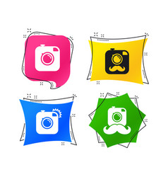 hipster photo camera with mustache icons vector image