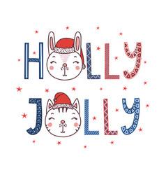 Holly jolly cat bunny poster vector