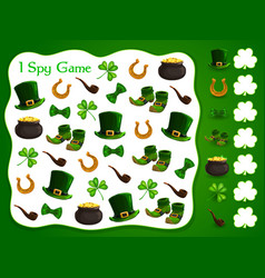 I spy kids game with patrick day elements vector